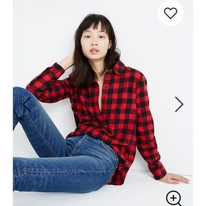 Madewell Flannel Popover Shirt in Buffalo Check